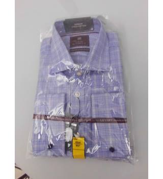 "M&S Collection Luxury Size 17.5"" Collar Blue White and Red Checked Shirt"