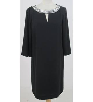 Tahari - Size: 10 - Black Tent Style Dress with Pearl Beaded Neckline