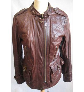 Urban Code rusty brown battered leather jacket size 8 Urban Code - Size: 8 - Brown - Casual jacket / coat