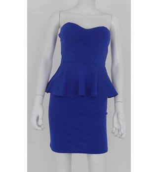 Boohoo Size 8 Cobalt Blue Peplum Mini Dress