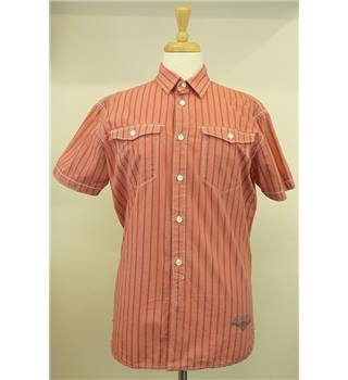 Men's Levi Strauss Large Red with Red Stripe Short-Sleeved Shirt Levi Strauss - Size: L - Red - Short sleeved