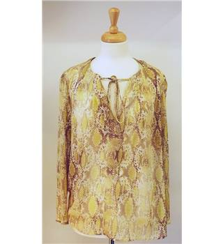 Autograph size 14 sheer snakeskin print yellow and brown top. Autograph by M & S - Size: 14 - Yellow