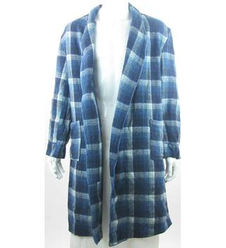 VINTAGE William Dixon  One Size: Regular   Blue & White Check Dressing Gown