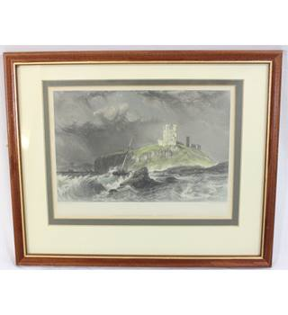 Antique Line Engraving - Dunstanborough Castle - G. Balmer - W. Finden