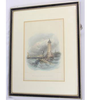 Antique Line Engraving - Entrance to the Port of Berwick - G. Balmer - W. Finden
