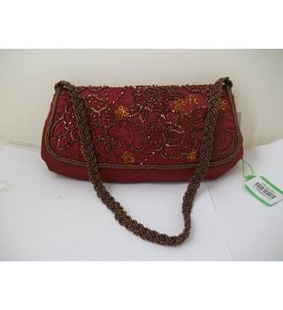 Per Una - Size: S - Burgundy Red - Beaded - Handbag