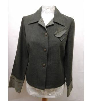 JANE ROZIER - Size: 38 / UK 12 - Green / grey, elegant  top / jacket