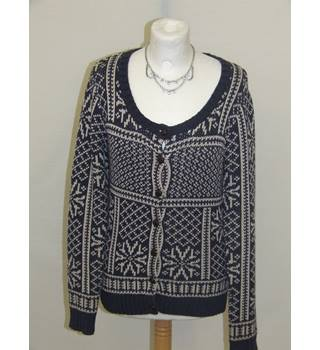 50% OFF SALE Fat Face Ladies Blue & White Cardigan Fat Face - Size: 10 - Blue - Cardigan
