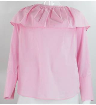 BNWT M&S Marks & Spencer - Size: 12 - Pale Pink - Cotton Ruffled Blouse