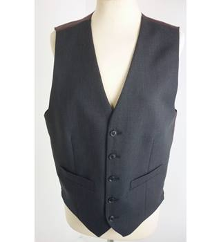 "M & S Size: S, 36"" Chest, regular fit Charcoal Grey With Scarlet Red Rear Panel Casual/Stylish Wool & Polyester Waistcoat"