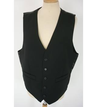 "M & S Size: M, 38"" Chest, tailored fit Black With Black Rear Panel Casual/Stylish Pure New Wool Waistcoat"