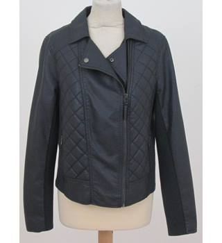 M&S Marks & Spencer - Size: 16 - faux leather blue biker jacket