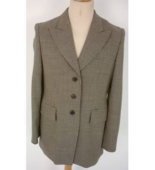 "Cerruti  Size: 14,  37"" Chest Light & Dark Brown Small Check Smart/Stylish  Wool Blend Designer Single Breasted Blazer"