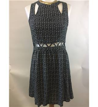 BNWT H&M - size 12, black and white patterned sleeveless with cutouts dress