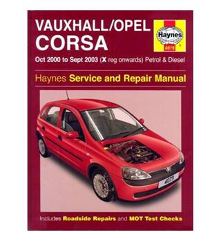 Haynes Vaxhuall / Opel Corsa  Service and Repair Manual Oct 2000 to Sep 2003