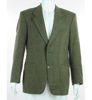 "Burton - Size: 40"" - Green Herringbone Pattern - Pure New Wool Single Breasted Jacket"