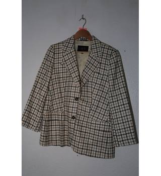 BNWT DAKS London - Silk & Linen Mix Cream Checked Jacket - Size 16