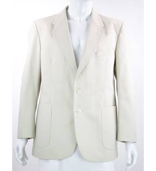"VINTAGE St Michael - Size: 44"" - Pale Beige - Wool & Linen Mix Single breasted Suit Jacket"