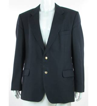 "Austin Reed - Size: 46"" - Navy Blue - Pure New Wool Single Breasted Suit Jacket"