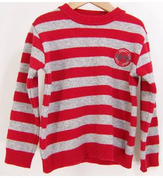 GRD Kids - As new, Size: 4 - Red & grey stripe - wool mix Jumper