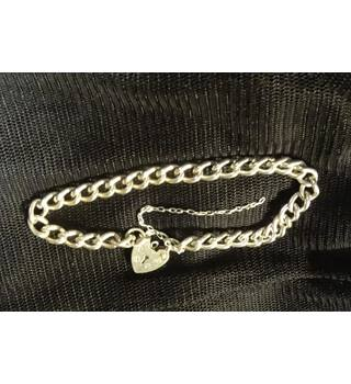 Sterling Silver curb chain bracelet with padlock