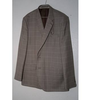 M&S Collection Classic Dark Beige Check Jacket - Wool Mix - Size: XXL