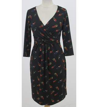 Laura Ashley: Size 10: Black mix leaf design V-neck dress