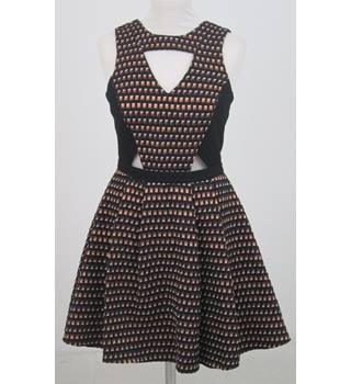 River Island - Size: 10 - Brown and Black Shiny Dress