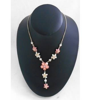 Pink and Clear Crystal flower Necklace
