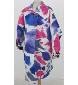 Handmade Size: XXL - White with Pink, Purple and Blue Abstract Splash Pattern Coat