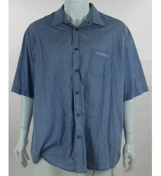 Pierre Cardin - Size XXXXL - White and Blue Gingham Check - Short Sleeved Shirt