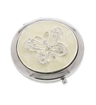'Sophia' Silverplated Butterfly Compact Mirror & Keyring Set