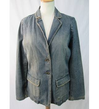 Jigsaw - Size: 12 - Faded Blue Heavy Denim - Jacket