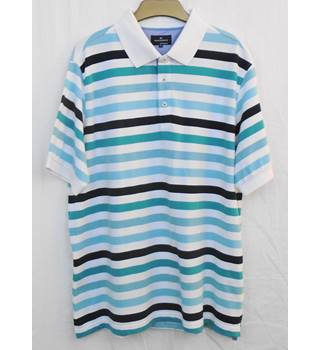 BNWOT M&S Blue Harbour striped polo shirt  Size XXL