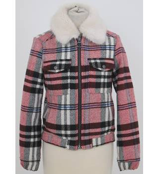Topshop - Size: 6 - pink and black chequered with faux fur collar bomber jacket