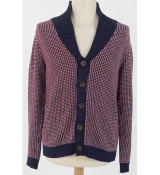 Topman Size M Red White and Navy Button Cardigan with Navy Collar