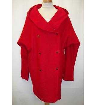 MaxMara - Size: L - Red - Hooded coat - Wool