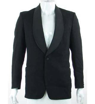 "Dunn & Co - Size: 37"" - Black - Worsted Wool Single Breasted Dinner Jacket"