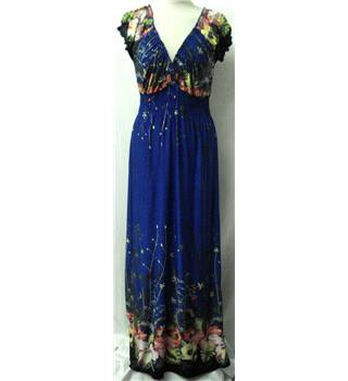 Apricot - Size: S - Blue with Green and Red Floral Long dress