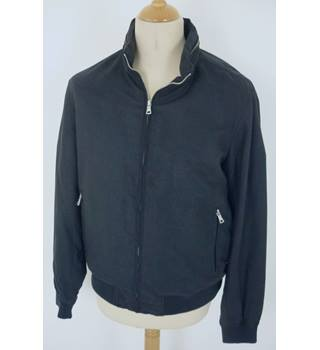 "M & S  Size: L, 42"" chest Navy Blue Casual Harrington Style Lightweight  ""Soft Touch"" Polyester Lined Jacket With Hood"