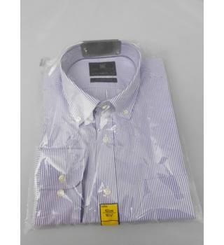 "M&S Collection Size 16.5"" Collar Mauve and White Striped Shirt"