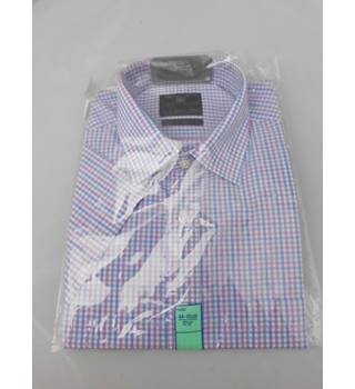 "M&S Collection Size 17.5"" Collar Mauve Blue Grey and White Checked Short Sleeved Shirt"