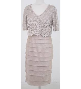 NWOT: M&S Size 20 Regular: Champagne lace top layered dress