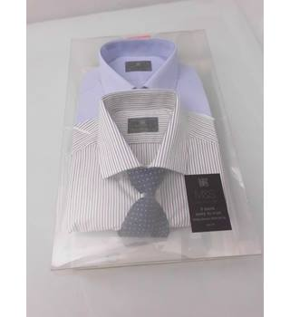 "M&S Collection Pack of 2 Size 16"" Collar Shirts and 1 Tie"