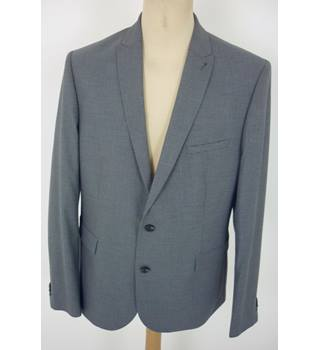 "M & S  Size: L, 44"" chest, slim fit Denim Blue Hound Tooth Casual/Stylish Polyester & Viscose Blend Single Breasted Jacket"