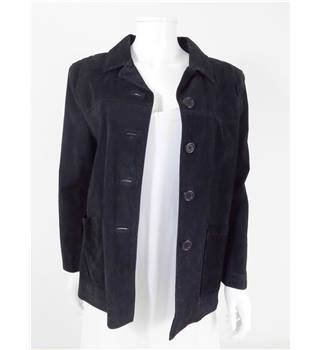 House Of Fraser Size M Black Suede Button-Up Jacket
