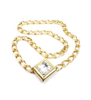 Gold tone chunky flat curb chain with diamond shape clear facet