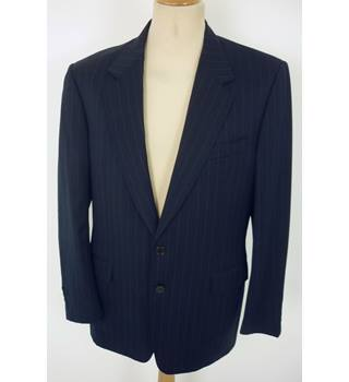 "Canali  Size: M, 40"" chest, tailored fit Navy Blue & Fine Silver Pinstripe Stylish Italian Wool Designer Single Breasted Jacket"