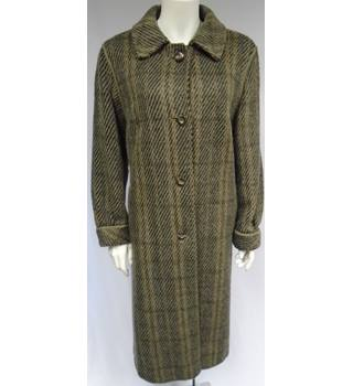 Vintage - Size Large - Brown And Black - Pure New Wool - Mohair - Long Coat