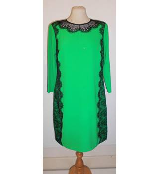 Ted Baker size L (brand size 3) emerald green with black lace detailing dress